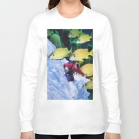 skiing Long Sleeve T-shirts featuring Water Skiing by John Turck