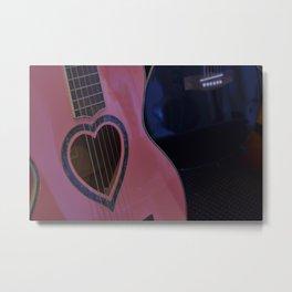 Pink Heart Guitar Metal Print