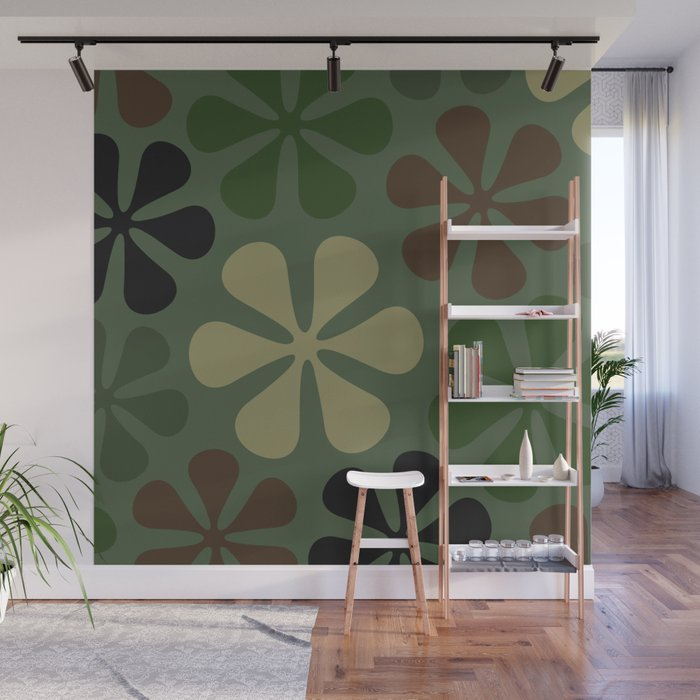 Abstract Flower Camouflage Wall Mural
