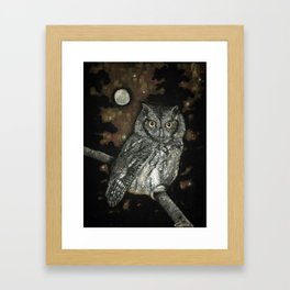 Night Vision // Owl Moon Forest Night Trees Wings Feather Screech Animal Bird Wild Wilderness Framed Art Print