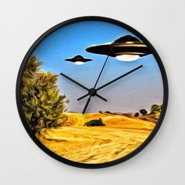 UFOs in Summer Wall Clock