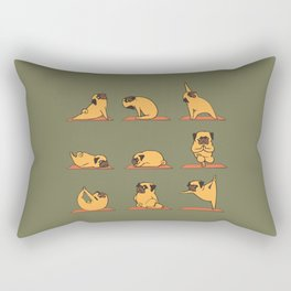 Pug Yoga In Khaki Rectangular Pillow