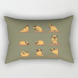 Pug Yoga In Khaki Rectangular Pillow