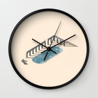 bath Wall Clocks featuring Bath by jaxsun