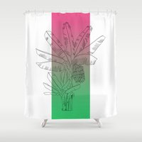 musa Shower Curtains featuring Platanera by Helena Tramunt