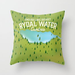 Rydal Water Cumbria Travel map Throw Pillow