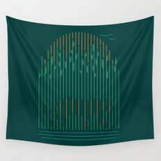 Tiger In The Grass Wall Tapestry