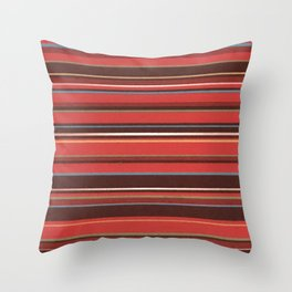 Red and Chocolate Brown Stripes Throw Pillow