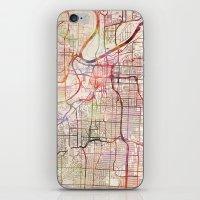 kansas iPhone & iPod Skins featuring Kansas City by MapMapMaps.Watercolors