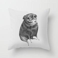 Sweet Black Pug Throw Pillow