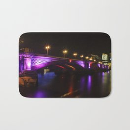 Blackfriars Bridge Illuminated in Purple Bath Mat