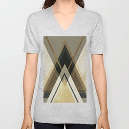 Rustic Black and Gold Geometric Unisex V-Neck