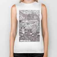 vermont Biker Tanks featuring Zentangle Vermont Mountain Pond by Vermont Greetings