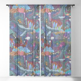 Whale Ocean Life Sheer Curtain