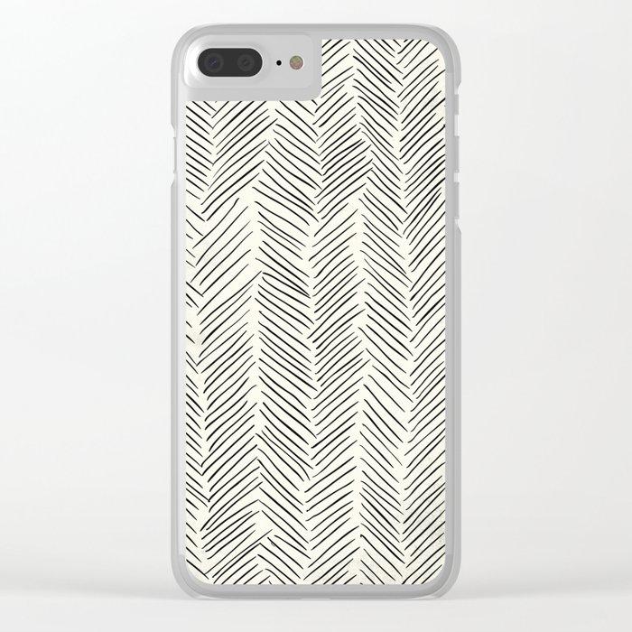 Herringbone Black on Cream Clear iPhone Case