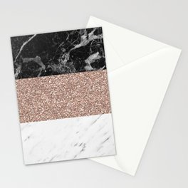 Marble stripes - Deauville rose gold Stationery Cards