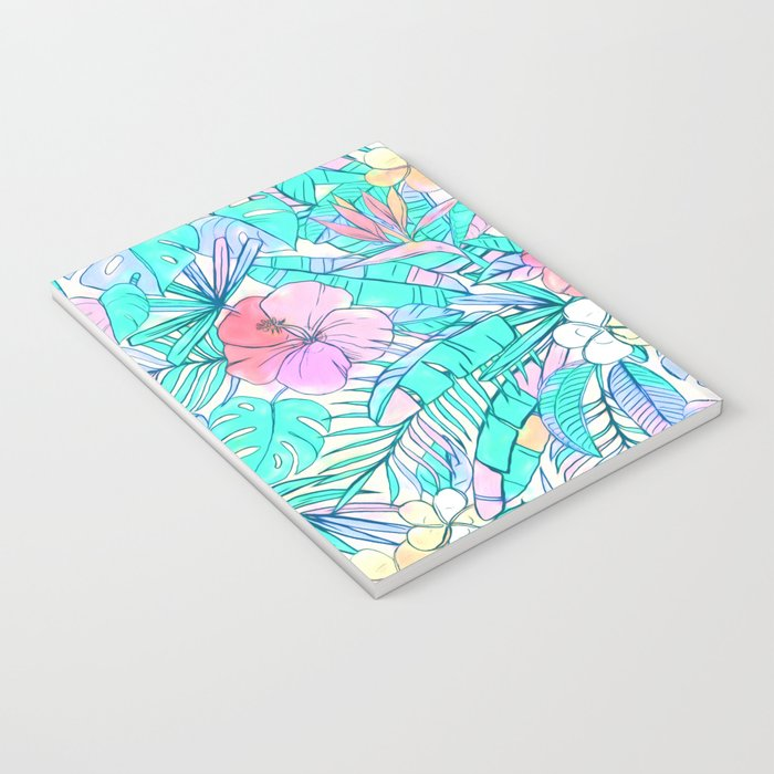 Pretty Pastel Hawaiian Hibiscus Print Notebook