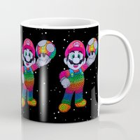 mario bros Mugs featuring Mario Bros by Luna Portnoi