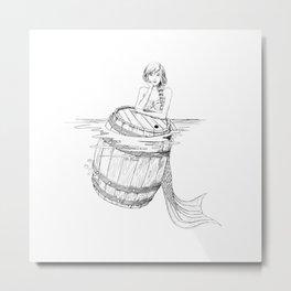 Mermaid and barrel Metal Print