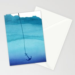 Cute Sinking Anchor in Sea Blue Watercolor Stationery Cards