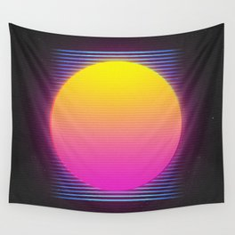 Retro 80's Neon Sunrise Wall Tapestry