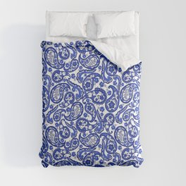 Blue and white paisley pattern Comforters