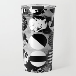 Eclectic Circles - Black and white, abstract, geometric, textured designs Travel Mug