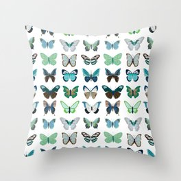 Green and Blue Butterflies Throw Pillow