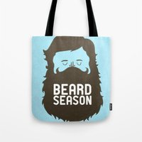 hair Tote Bags featuring Beard Season by Chase Kunz