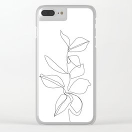 One line minimal plant leaves drawing - Birdie Clear iPhone Case