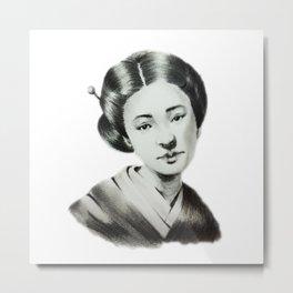 Japanese lady in Kimono Metal Print