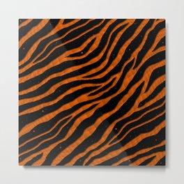 Ripped SpaceTime Stripes - Orange Metal Print