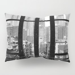New York City Window Black and White Pillow Sham