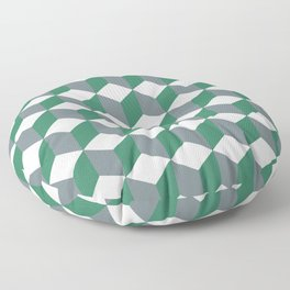 Diamond Repeating Pattern In Quetzal Green and Grey Floor Pillow