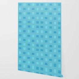 Mid Century Modern Patterned Lines (Sky Blue) Wallpaper