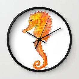 Seahorse Watercolor Painting - Orange Ocean Animal Wall Clock