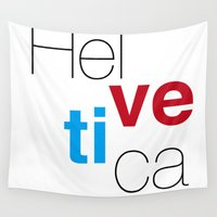 helvetica Wall Tapestries featuring Helvetica by Ana Guillén Fernández