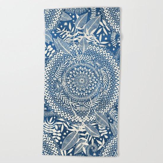 Diamond and Doodle Mandala On Blue Beach Towel