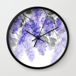 Purple Wisteria Flowers Wall Clock
