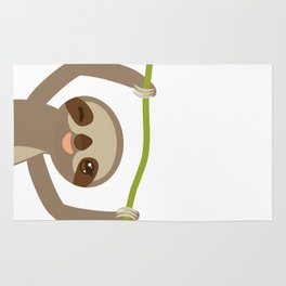 funny and cute smiling Three-toed sloth on green branch 2 Rug