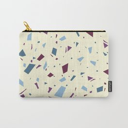 Pale Yellow With Blue Speckles - Granite Marble Terrazzo Pattern Carry-All Pouch