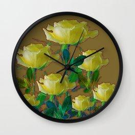 ARTISTIC YELLOW ROSE HARMONICS DRAWING Wall Clock