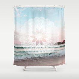 Seashell surf mandala Shower Curtain