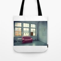 sofa Tote Bags featuring The Pink Sofa' by Anna Andretta