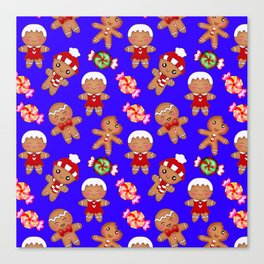 Cute decorative hygge pattern. Happy gingerbread men and sweet xmas caramel toffee candy. Xmas. Canvas Print