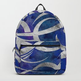 Abstract Maori curve shapes - Silver & Purple Backpack
