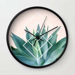 Agave geometrics - peach Wall Clock