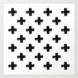 Crosses Modern Monochrome Minimalism Art Print