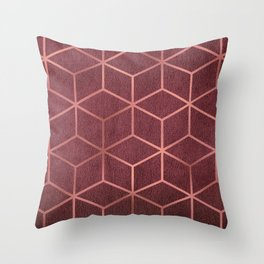 Pink and Rose Gold - Geometric Textured Gradient Cube Design Throw Pillow