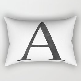 Letter A Initial Monogram Black and White Rectangular Pillow